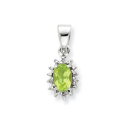 Jewelryweb Sterling Silver Rhodium Peridot and Diamond Pendant