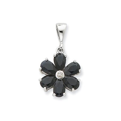 Jewelryweb Sterling Silver Rhodium Dark Sapphire and Diamond Flower Pendant