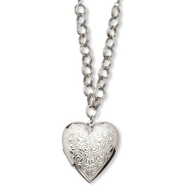Silver-tone Heart Locket 28 InchNecklace