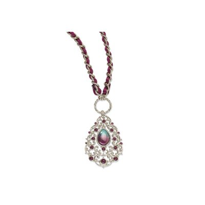 Jewelryweb Silver-tone Purple and Teal Enamel Teardrop With Purple Rope 34inch Necklace
