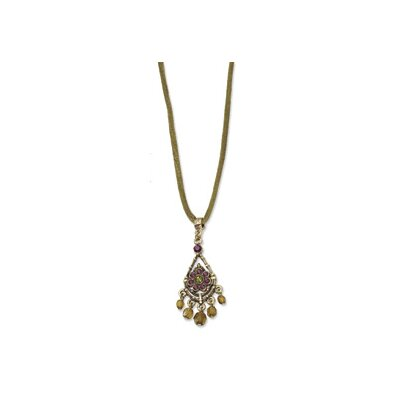 Jewelryweb Brass-tone Purple and Olive Crystal 15inch With Ext Necklace