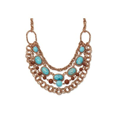 Copper-tone Aqua and Brown Beads Multistrand 16inch With Ext Necklace