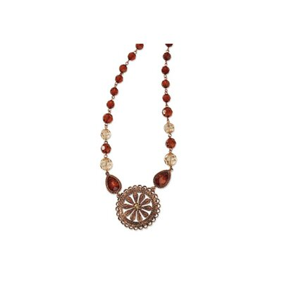 Jewelryweb Copper-tone Lt. Colorado and Brown Crystal 16inch With Ext Necklace