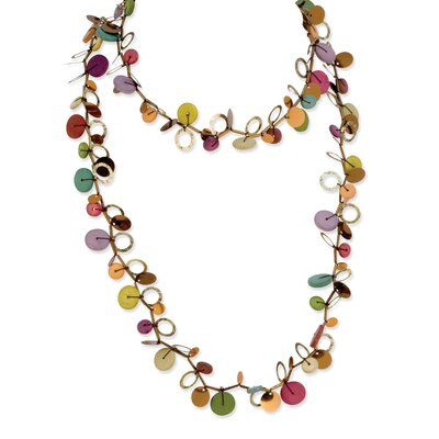 Jewelryweb Multicolored Hamba Wood and Sequin 46in Necklace