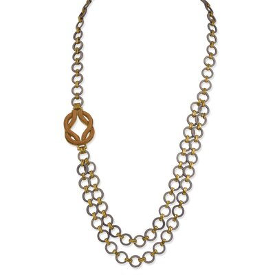 Jewelryweb Gold-tone and Grey Coco Necklace