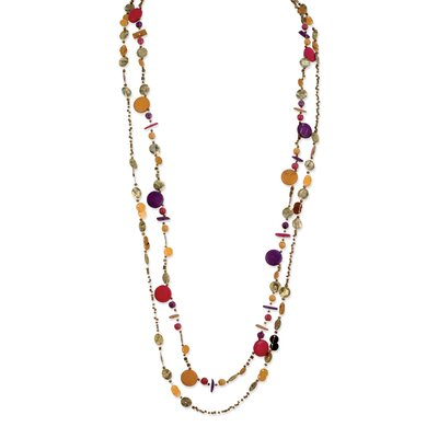 Brown Orange Purple Hamba Wood Coco Sequin 28in Necklace