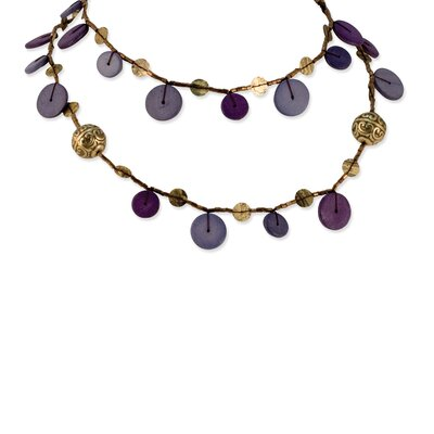 Purple Brass Beaded 40inch Necklace