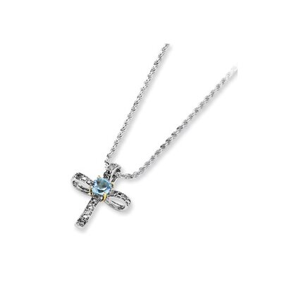 Sterling Silver and 14K Sky Blue Topaz and Diamond Necklace - 17 Inch