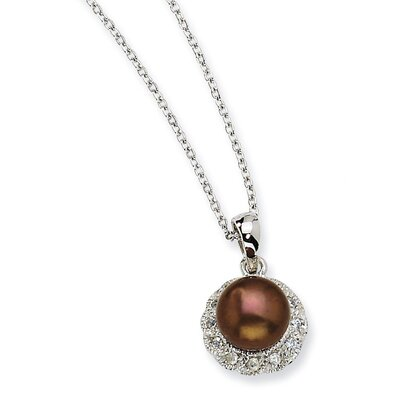 Jewelryweb Sterling Silver CZ Chocolate Cultured Pearl Necklace - 18 Inch