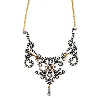 Jewelryweb Gold-plated and Black-plated Sterling Silver CZ Scroll Necklace - 17 Inch