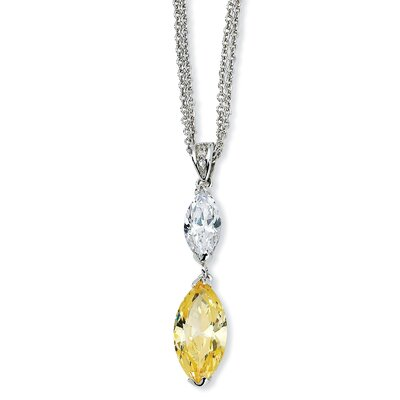 Sterling Silver Marq Canary White CZ With 2in xtDouble Strand Necklace - 17 Inch