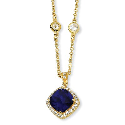 Jewelryweb Gold-plated Sterling Silver Rose-cut Synth Sapphire CZ Necklace - 18 Inch