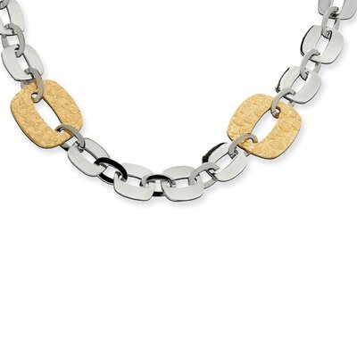 Stainless Steel Gold IP Plated Sqare Link Necklace - 19 Inch