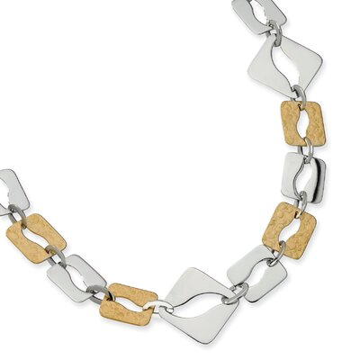 Stainless Steel Gold IP Plated Sqare Link Necklace - 22 Inch