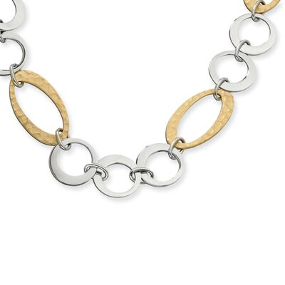 Stainless Steel Gold IP Plated Circles Link Necklace - 23 Inch