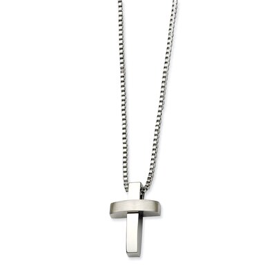 Jewelryweb Stainless Steel Polished and Satin Cross PendantNecklace - 22 Inch