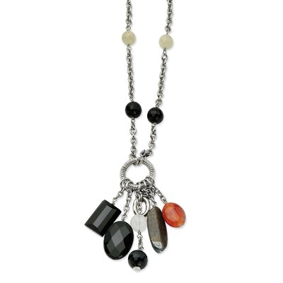 Stainless Steel Black Agate 26 With 2inch ext. Necklace - 26 Inch