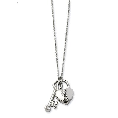 Stainless Steel Heart Lock and Key With CZs Pendant17 w/ 2inch Ext Necklace - 17 ...