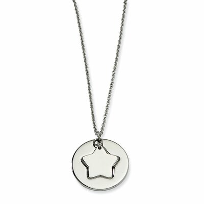 Jewelryweb Stainless Steel Polished Star and Star Cutout Necklace - 18 Inch
