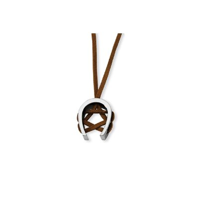 Tungsten Horseshoe Leather Cord Necklace - 17 Inch