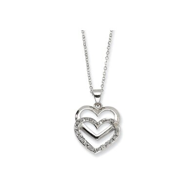 Sterling Silver Diamond Mystique 18inch Dangle Heart Necklace
