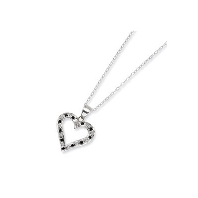 Sterling Silver Diamond Mystique B and W Dia. 18inch Heart Necklace