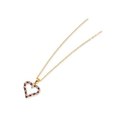 Sterling Silver and Gold-plated Dia. and Ruby 18inch Heart Necklace