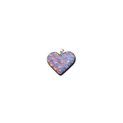 Sterling Silver Blue and Pink Dichroic Glass Heart Pendant