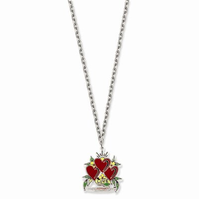 Jewelryweb Ed Hardy Triple Heart Love Painted 24inch Necklace