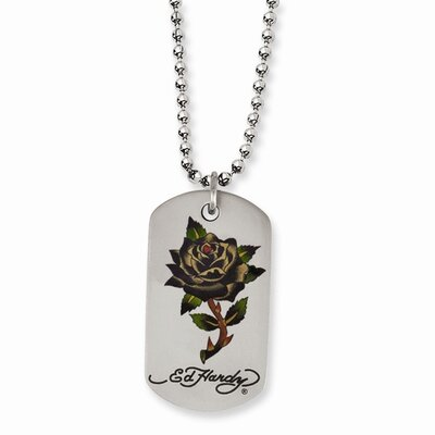 Jewelryweb Stainless Steel Ed Hardy Painted Rose Dog Tag 24inch Necklace