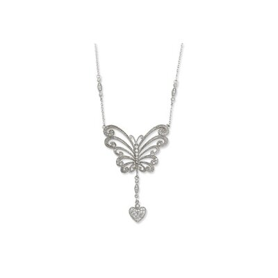 Jewelryweb Sterling Silver CZ The Way Of Love 18inch Necklace