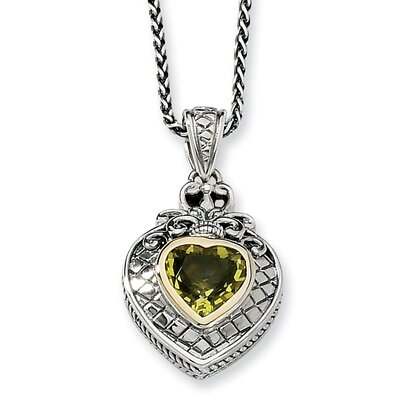 Sterling Silver With 14k 1.40Lemon Quartz 18inch Necklace