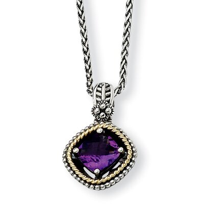 Jewelryweb Sterling Silver With 14k 2.10Amethyst 18inch Necklace
