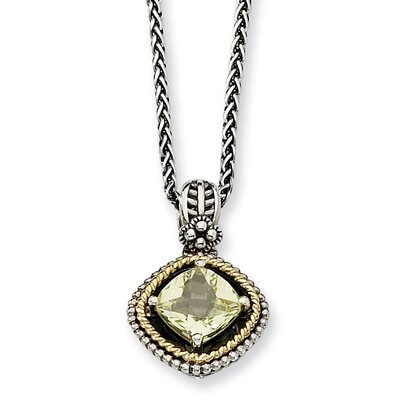 Sterling Silver With 14k 1.90Lemon Quartz 18inch Necklace