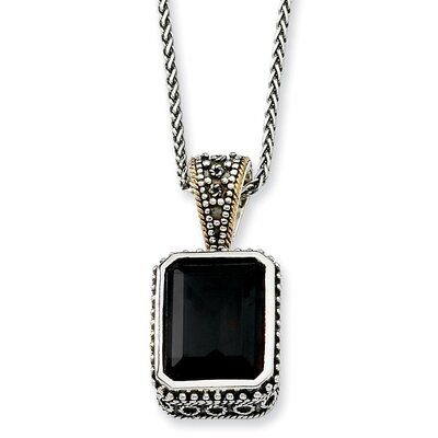 Jewelryweb Sterling Silver With 14k 29.00Black Onyx 18inch Necklace