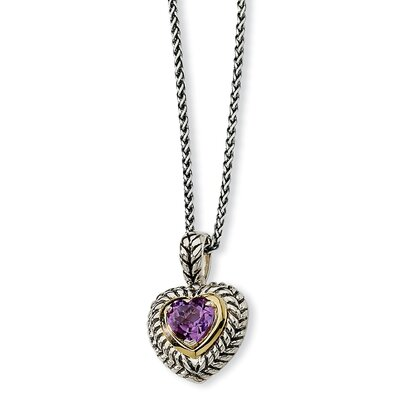 Jewelryweb Sterling Silver and 14k 1.82Amethyst Heart 18inch Necklace