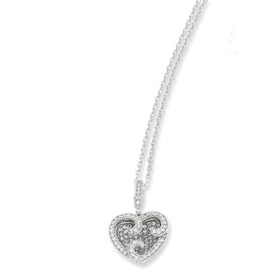 Sterling Silver and CZ Polished Heart Necklace - 18 Inch