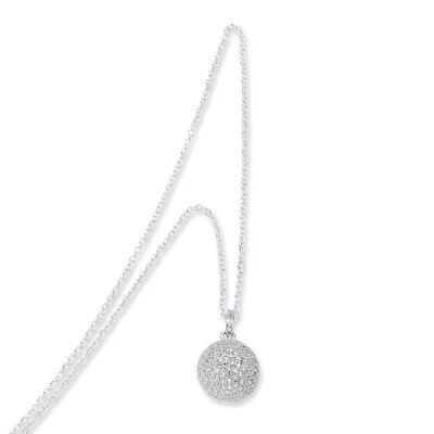 Jewelryweb Sterling Silver and CZ Polished Circle Pendant