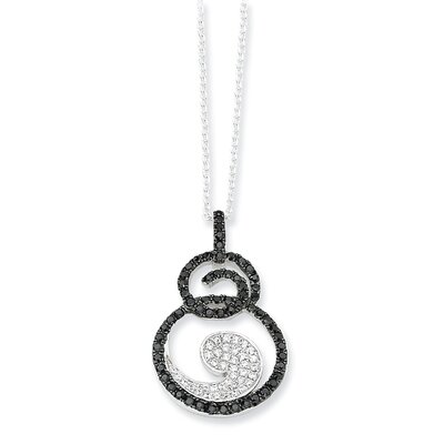Jewelryweb Sterling Silver White and Black Diamond Fancy Necklace - 18 Inch