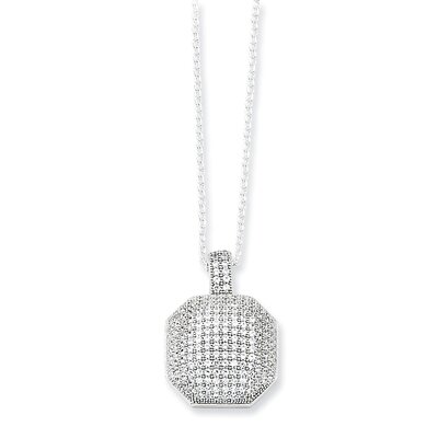 Jewelryweb Sterling Silver and CZ Fancy Polished Necklace - 18 Inch