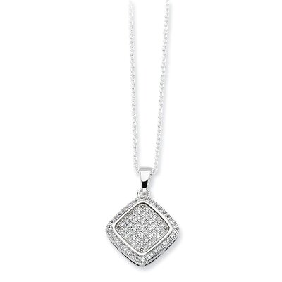 Jewelryweb Sterling Silver and CZ Polished Fancy Pendant