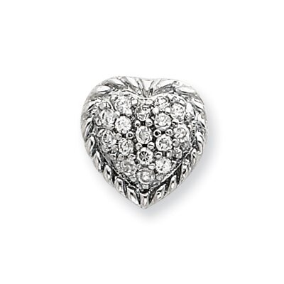 Jewelryweb Sterling Silver CZ Heart Slide