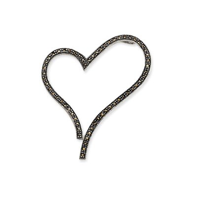 Jewelryweb Sterling Silver Marcasite Open Heart Slide