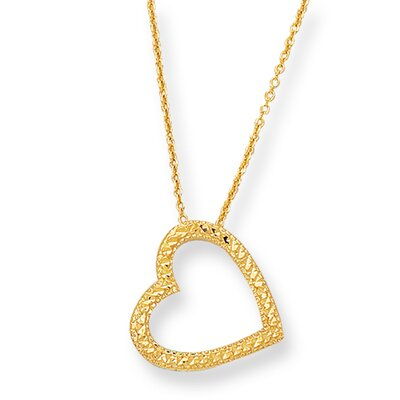 Jewelryweb 14k Pave Heart With Cab030 Necklace - 18 Inch