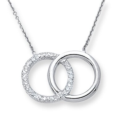 Jewelryweb 14k White Gold Circles-Of-Life Necklace