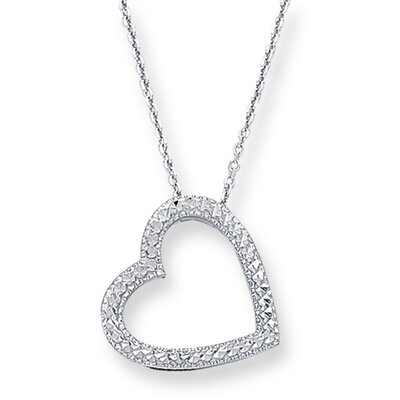 14k White Gold Pave Heart With Cab030 Necklace - 18 Inch