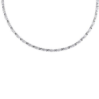 Sterling Silver: Pave Xo Necklace - 17 Inch