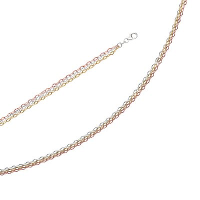 Sterling Silver Color Plated Necklace Multi Strand