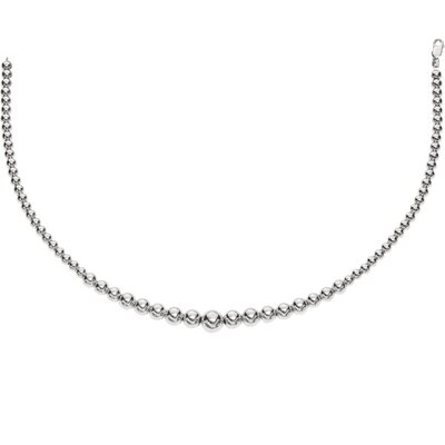 Sterling Silver Rhodium Plated Grad Ball Necklace 12-6m - 17 Inch