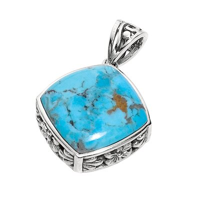 Jewelryweb Sterling Silver Rhodium Plated 18 InchTurquoise PendantWith Chain